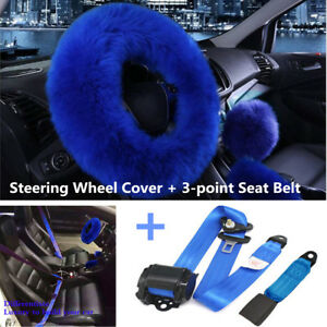3pcs set Wool Steering Wheel Cover Car Retractable 3 point Safety Seat Belt Blue