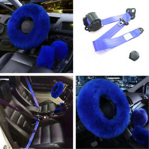 3 Point Car Safety Seat Lap Belt long Plush Faux Wool Steering Wheel Cover Blue