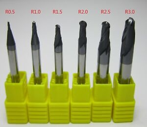 6pcs 1 6 Mm Hrc55 R0 5 r3 0 Carbide Ball Nose End Mills Set Bits Milling Cut