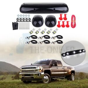 3x Smoke Lens Cab Marker Light W5w T10 White Led Free Light For Chevy Gmc