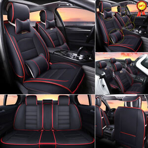 Luxury Universal Car Leather Seat Cover 5 Seats Front rear Cushion W pillow Gift