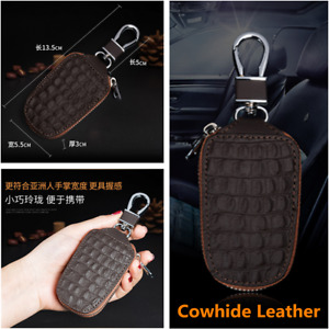 Car Key Chain Bag Cowhide Leather Smart Key Holder Cover Remote Fob Zipper Case