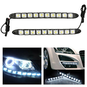 2x 10 Led Universal Flexible Drl Daytime Running Lights Fog Light White Lamp 12v
