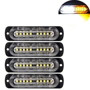 4pcs 10 led Strobe Lights Emergency Flashing Warning Beacon Amber white 12v 24v