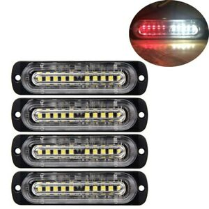 4pcs 10 Led Strobe Lights Emergency Flashing Warning Beacon Red White12v 24v