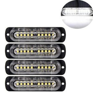 4pcs 10 led Strobe Lights Emergency Flashing Warning Beacon White white 12v 24v