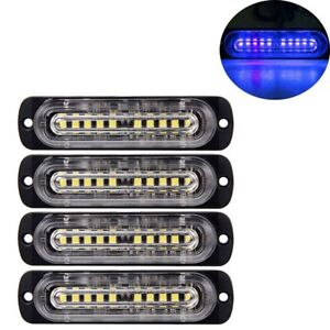 4pcs 10 Led Strobe Lights Emergency Flashing Warning Beacon Blue Blue12v 24v