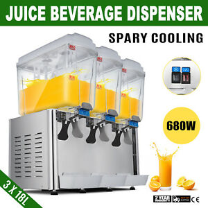 680w Commercial 3 Tank Juice Beverage Dispenser Cold Drink Jet Spray Refrigerate