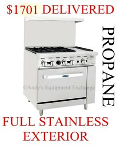 36 Inch 3 Foot Propane Gas Range With 4 Burners 12 Griddle On The Right Oven