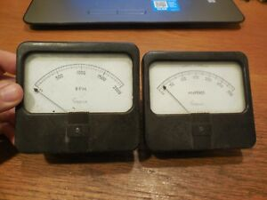 2 Vintage Simpson Panel Gauges D c Amperes And Rpm