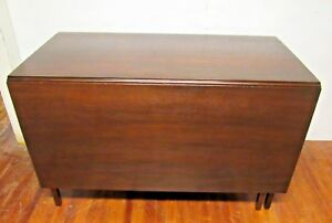 Antique Drop Leaf Gate Leg Solid Mahogany Dining Table