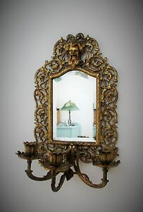 Antique Victorian Mirror Bradley Hubbard Tripple Candle Holder Beveled Mirror