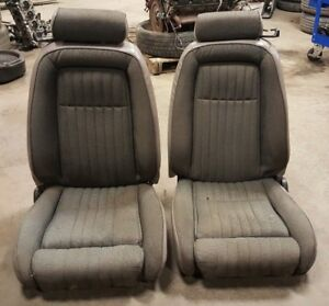 1987 1993 Ford Mustang Gt Lx Convertible Gray Cloth Front Seats Oem