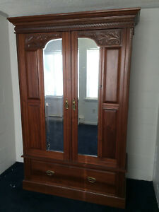 Antique French Armoire Wardrobe Two Beveled Mirrored Doors W Keys
