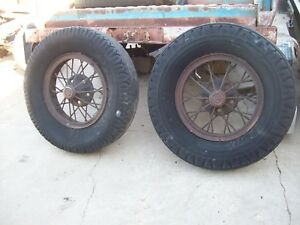 Vintage Pair Ford Truck Aa 20 S 30 S Wire Spoke Wheels Tires Man Cave Steampunk