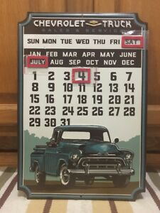 Chevrolet Truck Calendar Shop Chevy Gas Oil Garage Vintage Style