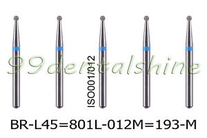 50pcs Dental Diamond Burs Fg Surgical Long Round Ball 801l 012m br l45 Medium