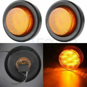 2x Amber 2 Inch 9 Led Round Truck Trailer Side Marker Clearance Light W Grommet