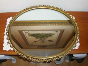 Vintage Brass Wall Mirror Art Deco Victorian Style Oval Scalloped Edges Pretty