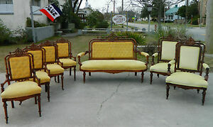 Walnut Victorian Parlor Set Sofa 2 Arm Chairs 4 Side Chairs W Carved Crest
