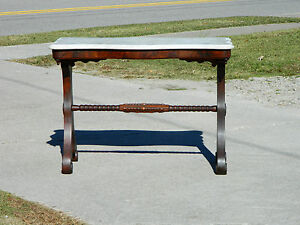 Turn Of The Century Mahogany Marble Top Sofa Table