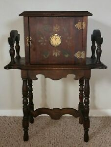 Antique Smoking Stand Tobacco Humidor Cabinet Table New Haven Clock Hand Painted