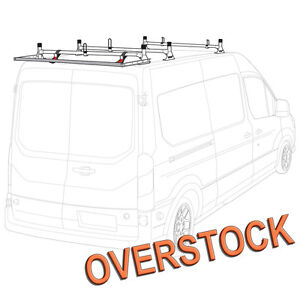 H1 3 Bar Aluminum Rack System White With Roller Silver For Transit Cargo Van