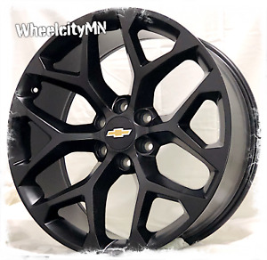 22 Satin Black 2016 Chevy Tahoe Silverado Ltz Oe Replica Snowflake Wheels 6x5 5