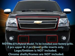 Black Front Mesh Grille Grill Combo For 2007 2014 Chevy Tahoe Suburban Avalanche