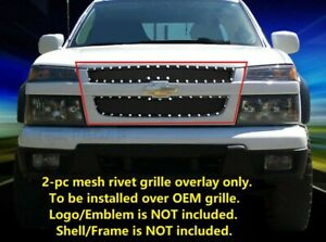 Fits 2004 2012 Chevy Colorado Stainless Steel Black Rivet Mesh Grille Grill