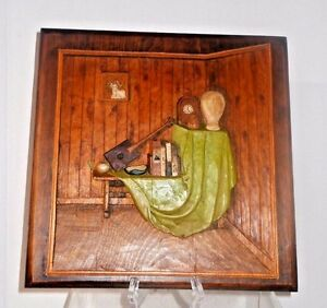 Superb Vintage Signed Wooden Carved Panel Interior Room Scene Swiss