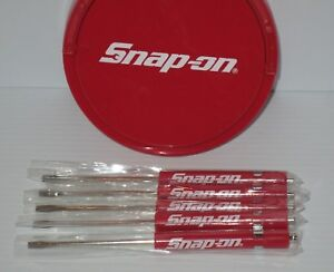 5 Five Snap On Pocket Screwdriver Flat Tip Screwdrivers Red Magnetic New