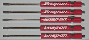 5 Snap On Promo Screwdriver Pocket Flat Tip Screwdrivers Red Magnetic New