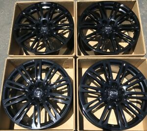 20 Audi A7 Factory Wheels Rims Gloss Black Oem 5x112 4h0601025ae Set Of 4