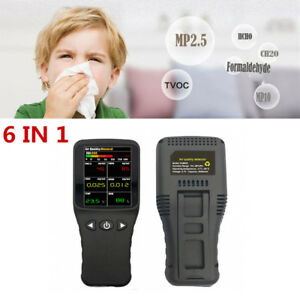 6 in 1 Air Quality Monitor Pm2 5 Pm10 Formaldehyde Hcho Voc Co2 Detector