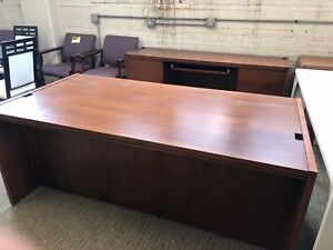 Executive Set Desk Credenza By Kimball Office Furn In Cherry Finish Wood
