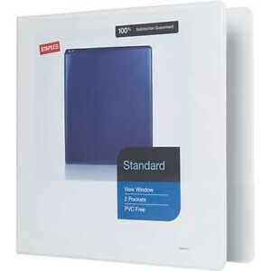 12 pack Staples Standard 1 1 2 Inch 3 ring View Binder White 26339