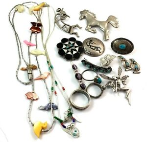 Lot Of Na Sw Sterling Silver Rings Pins Tips Necklaces Key Chain 101 Grams