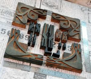 Letterpress Border Wood Printing Blocks Ornaments Decorative Art Nouveau Old Z