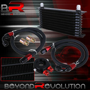 Racing Engine Oil Cooler Sandwich Adapter Relocation Kit Set 10an Fitting Black