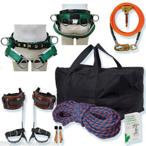 Arborist Basic Spur Kit W saddle 12 Flipline Kit 150 Rope Spikes Gearbag