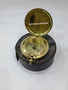 Maritime Nautical Brass Compass Push Button Pocket Compass With Case