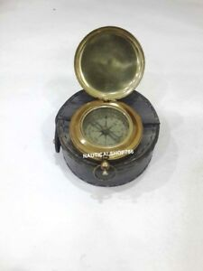 Antique Maritime Nautical Compass Push Button Pocket Compass With Case Gifting