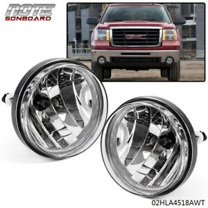 For Gmc Sierra 1500 2500 Hd Clear Front Bumper Fog Lights Lamps Left Right 07 13