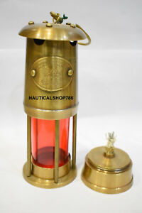 Antique 6 Vintage Style Brass Nautical Miner Ship Lantern Oil Lamp Red Glass