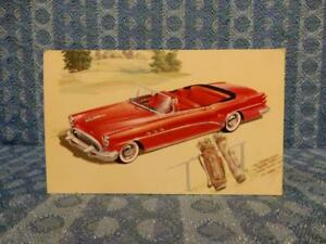 1954 Buick Super Convertible 56c Nos Factory Dealer Color Postcard