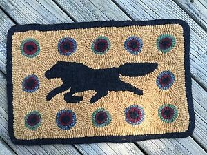 Reduced Hand Made Primitive Style Hooked Rug Folk Art Horse With Pennies