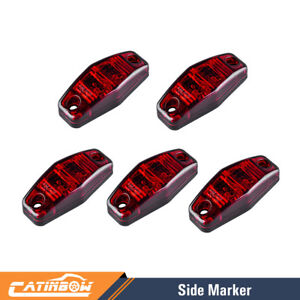 5pcs 2 5 Red Led Truck Trailer Surface Mount Oval Clearance Side Marker Lamp