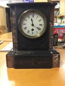 Antique Marble Mantle Clock Does Tick For Some Time Hands Do Not Go Round