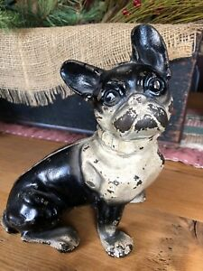 Vintage Cast Iron French Bulldog Hubley Doorstop 7 3 4 Inches Tall